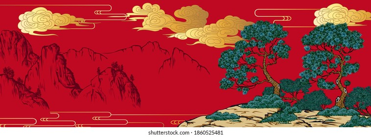 Chinese painting classic landscape with mountains - Shutterstock ID 1860525481