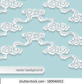 chinese paper clouds, vector background