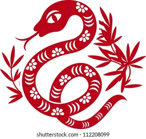 Chinese paper cut out snake as symbol of year 2013