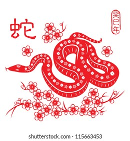 Chinese paper cut out snake as symbol of 2013 / Snake year 2013. Chinese zodiac symbol ( Red stamps which appear on the attached image in chinese 3 wording means snake year)