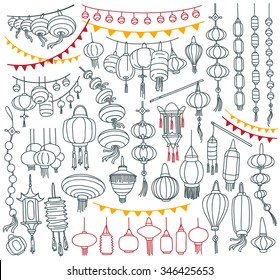 Chinese paper lanterns collection.  Different shapes and types. Decorative elements for traditional asian holidays. Freehand vector drawing isolated on white background.