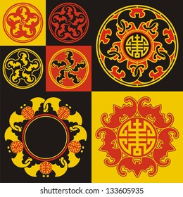 """Chinese pattern with bats and hieroglyphic """"show"""" - happiness. The symbol of the five favorable circumstances of human life."""
