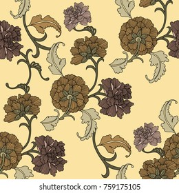 Chinese pattern seamless vector. Flower background in traditional elements.