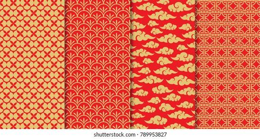 Chinese pattern set. Decorative background,illustration EPS10.