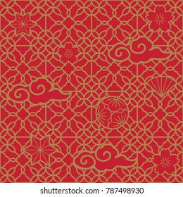 Chinese pattern vector. Red geometric background in traditional style.