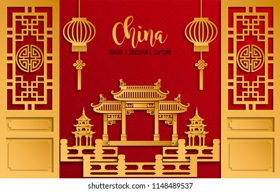 Chinese Pavilion Arch, door and lamp with red paper cut art and craft style on color Background.