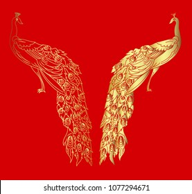 Chinese Peacock tattoo.Silhouette and golden peacock isolate vector.paper cut and outline design.