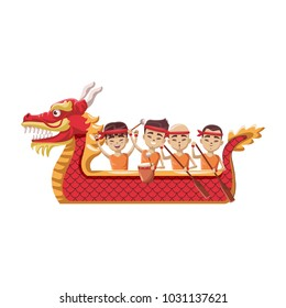 Chinese people on dragon boat
