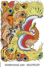 Chinese phoenix or feng huang mythological bird . Vector illustration