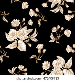 Chinese plum white flower. Seamless vector pattern with gold foil embossing on a black background. Vintage illustration.