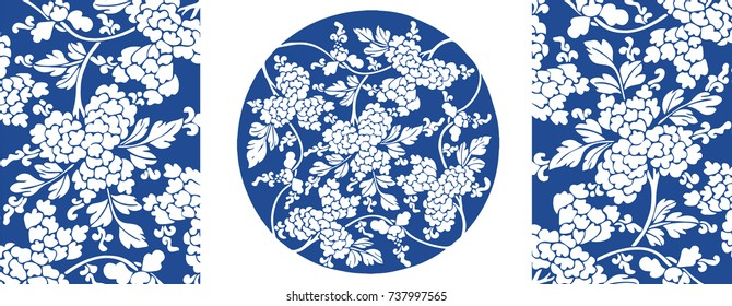 Chinese porcelain pattern with leaves and flowers
