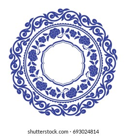 Chinese porcelain round frame with folk ornaments and peony. Vintage style illustration.