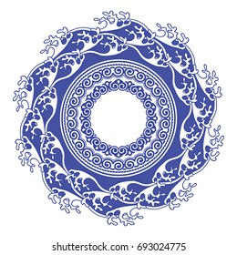 Chinese porcelain round frame with sea waves and ornaments. Vintage style illustration.