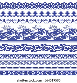 Chinese porcelain seamless borders vector set. Vintage style illustration.