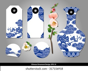 Chinese porcelain style cardboard vintage labels. Vector.