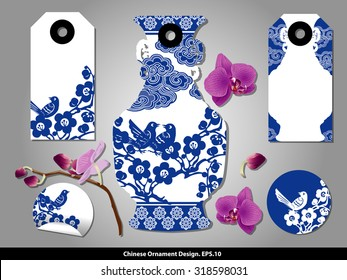 Chinese porcelain style cardboard vintage labels set. Vector.