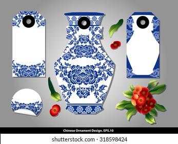 Chinese porcelain style cardboard vintage labels set. Vector.