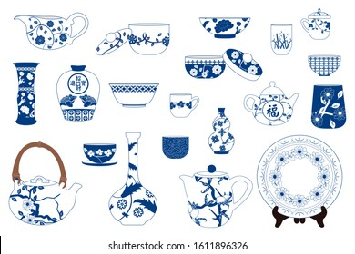 Chinese pottery and porcelain tableware set, Ceramic teapot, kettle, pitcher, plate, vase, bowl, jug, jar, pot, cup and saucer isolated on white. Asian  decorative elements for your interior design.
