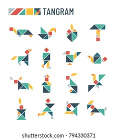 Chinese puzzle shapes cutting intellectual kids game - tangram origami vector set. Triangle and square parts of puzzle for tangram illustration