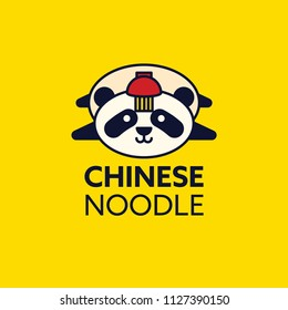 chinese ramen noodle with panda illustration isolated in yellow background. noodle vector illustration.  Menu and logo design.