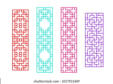 Chinese rectangle window frame in vector design