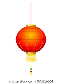 Chinese red lantern isolated on white vector. All elements sorted and grouped in layers
