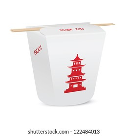 Chinese restaurant closed take out box with bamboo chopsticks