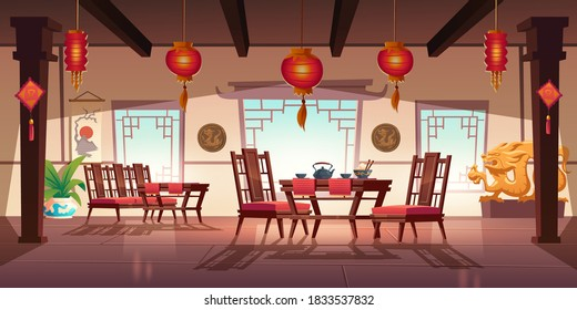 Chinese restaurant with food and tea on wooden table and chairs. Vector cartoon interior of china cafe with traditional windows, red asian lanterns, flower and decoration with dragons