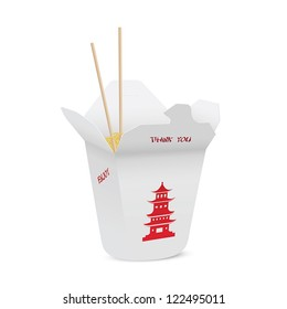 Chinese restaurant opened take out box filled with noodles, chopsticks inside