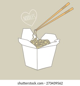 Chinese restaurant opened take out box filled with noodles and chopsticks. Vector illustration.