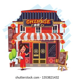 Chinese restaurant with receptionist - vector illustration
