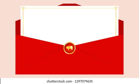 Chinese reward vector. card. pig symbol vector. free space for text. copy space.