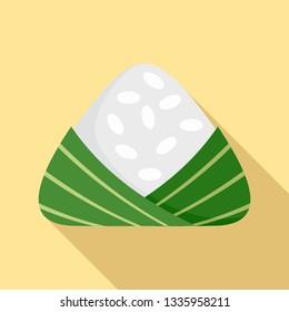 Chinese rice dumplings icon. Flat illustration of chinese rice dumplings vector icon for web design