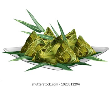 Chinese rice dumplings (zongzi) wrapped in bamboo leaves on plate. Realistic vector illustration isolated on white background.