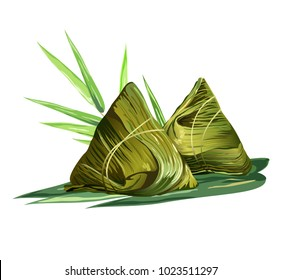 Chinese rice dumplings (zongzi) wrapped in bamboo leaves. Realistic vector illustration isolated on white background.