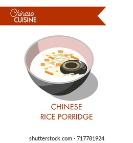 Chinese rice porridge in deep bowl isolated illustration