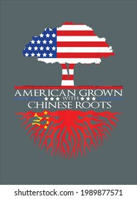 Chinese Roots American Grown Tree Flag Asian Us China design vector illustration for use in design and print poster canvas