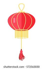 Chinese round red lamp ball isolated on white. Traditional oriental hanging lantern with yellow tassels. Vector illustration of decorative thing for building lighting. Chandelier in asian style