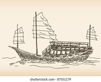 Chinese sailing ship Hand drawn