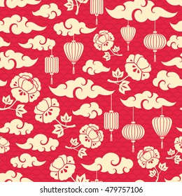 Chinese Seamless Pattern with Clouds, Peony Flowers and Asian Lanterns. Vector illustration.
