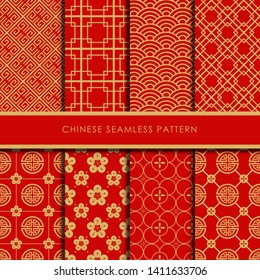 Chinese seamless pattern collection, Decorative wallpaper.