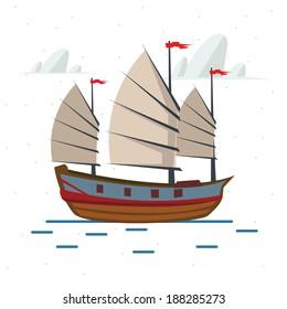 Chinese ship - vector illustration