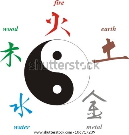 Chinese Signs Elements Yin Yang Symbol Stock Vector Royalty Free