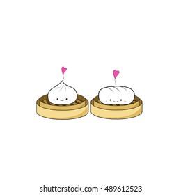 Chinese Steamed dumplings dim sum cartoon poster design on white background, vector illustration.
