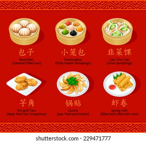 Chinese steamed, fried and rolled dumpling icons