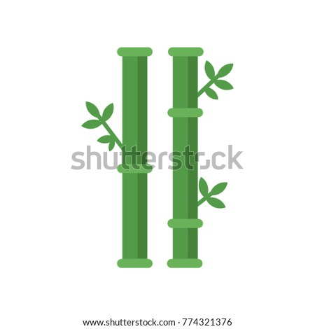 Chinese Sticks Bamboo Tree Green Leaves Stock Vector Royalty Free