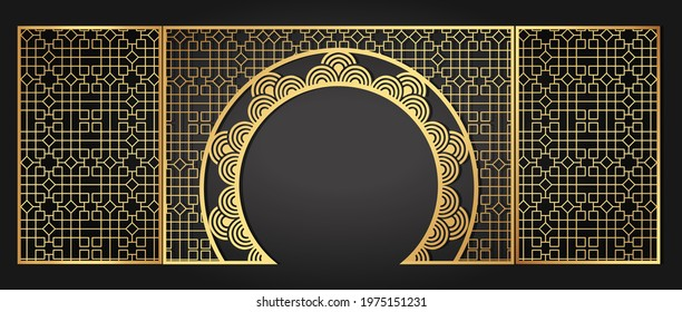 Chinese style classical luxury beautiful gold wedding gate. Gold festive birthday banquet stage. Solemn feast in a restaurant. Vector illustration.