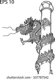 Chinese Style Dragon Statue Vector line, EPS 10.