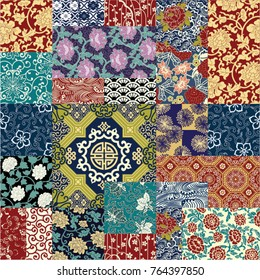 Chinese style fabric patchwork wallpaper, abstract floral vector  seamless pattern