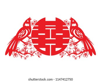 Chinese symbol of double happiness and happy marriage with traditional Chinese paper cut arts design.